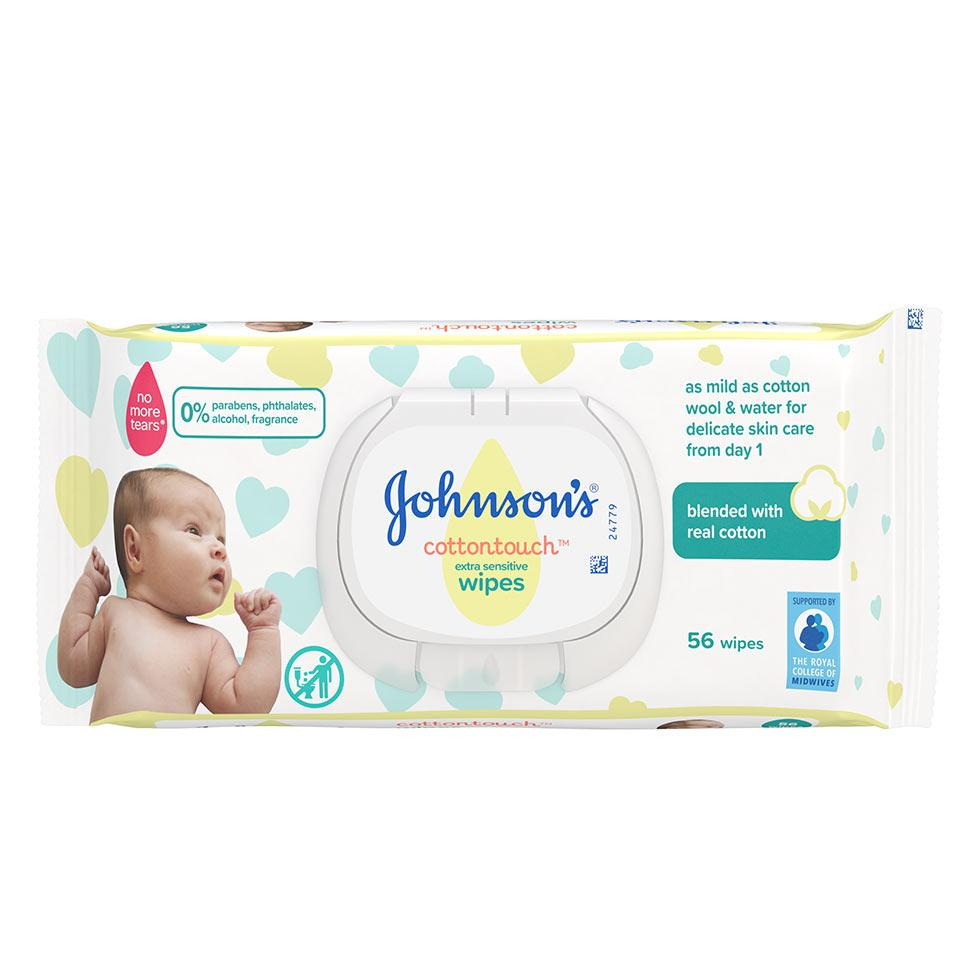 Johnson's® șervețele umede CottonTouchTM pentru bebeluși